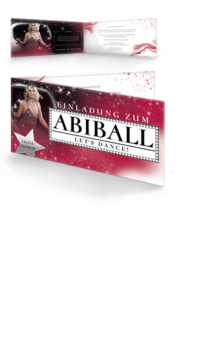 Einladungskarte: Abiball  - Hollywood Night Falz Seite