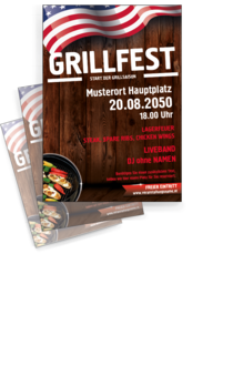 Flyer A4: Grillfest Holzwand