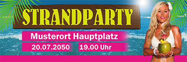 Werbebanner: Strandparty - Beachgirl